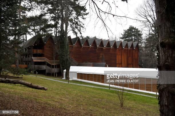 This general view shows The Grange au Lac Auditorium the venue for the 'Victoire de la musique classique' award ceremony in Evian les Bains on...