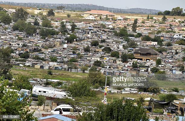 This general view shows the impoverished Diepsloot township outside Johannesburg on April 16 2014 A generation of forgotten individuals many born in...