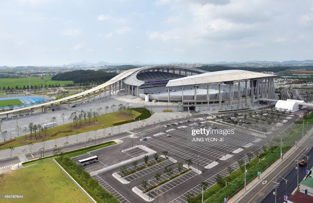 This general view shows the main stadium for the upcoming 2014 Asian Games in Incheon on August 26, 2014. The 2014 Asian Games will take place between September 19 and October 4, with Asia's top athletes competing across 36 sports.