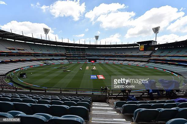 This general view shows the Melbourne Cricket Ground prior to the Pool A 2015 Cricket World Cup match between Australia and England at the Melbourne...