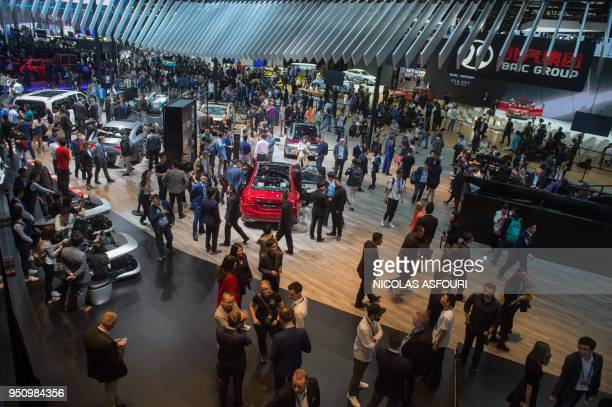 This general view shows the Mercedes car stand during the Beijing Auto Show in Beijing on April 25 2018 Industry behemoths like Volkswagen Daimler...