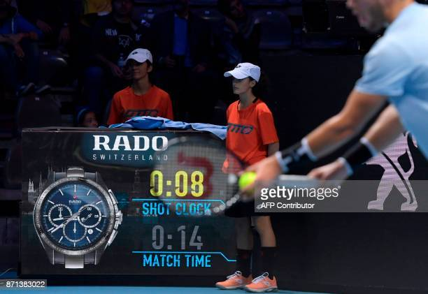 This general view shows the new ATP clock featuring the shot clock as Croatia's Borna Coric plays Jared Donaldson of the US in their Group B men's...