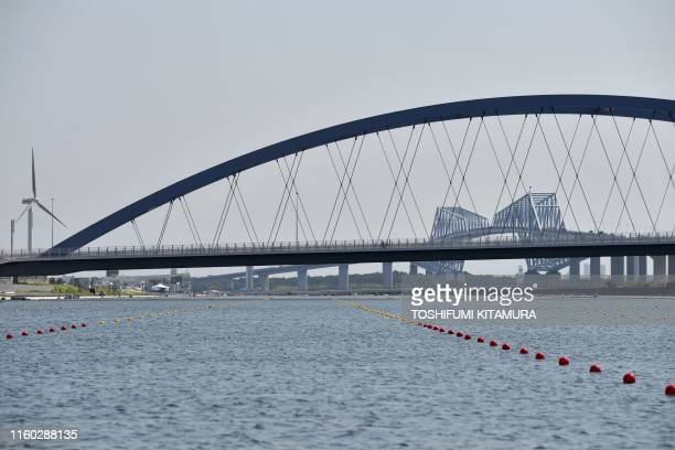 This general view shows the Sea Forest Waterway from the start area during the 2019 World Rowing Junior Championships a test event ahead of the Tokyo...
