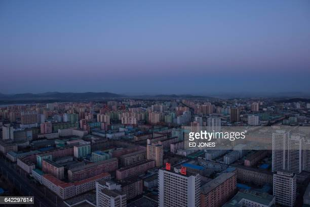 This general view shows the southeastern Pyongyang city skyline from the landmark Juche tower on February 17 2017 / AFP / Ed JONES