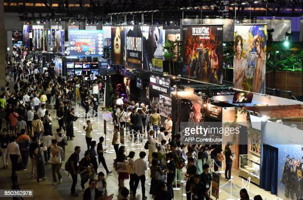 This general view shows the Tokyo Game Show in Chiba City, in suburban Tokyo on September 21, 2017. Star game players geared up for digital street...