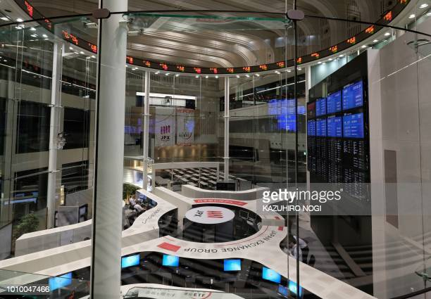 This general view shows the Tokyo Stock Exchange in Tokyo on August 3 2018 Tokyo's key Nikkei index closed flat on August 3 as investors retreated to...