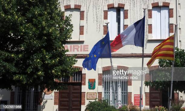 This general view shows The Town Hall of Perthus a small town on the FrenchSpanish border on July 20 2018 The regional chamber of accounts for...