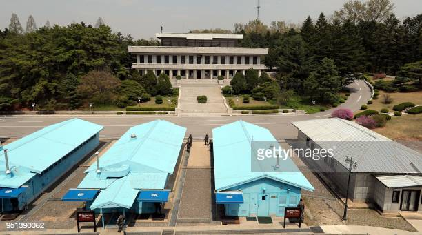 This general view shows the truce village of Panmunjom in the Demilitarized zone dividing the two Koreas on April 26 2018 ahead of the interKorea...