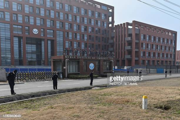 This general view shows the Wuhan Institute of Virology in Wuhan, in China's central Hubei province on February 3 as members of the World Health...