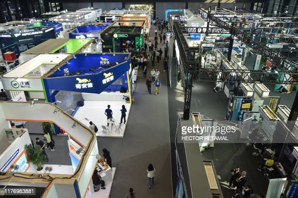 This general view shows various companies on display during the 6th World Internet Conference in Wuzhen in Zhejiang province on October 20, 2019.