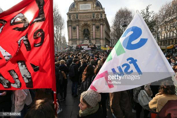 This general view taken from Place SaintMichel in Paris France shows high school students during a demonstration on December 11 to protest against...