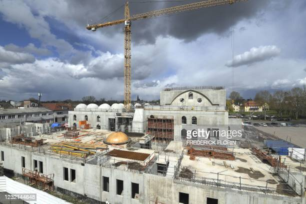 This general view taken on April 6 shows the construction site of The Eyyub Sultan Mosque in Strasbourg, eastern France, after the city council of...