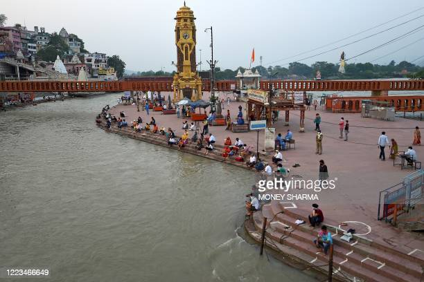 This general view taken on June 11 2020 shows the Har Ki Pauri ghat on the banks of the river Ganges after the government eased a nationwide lockdown...