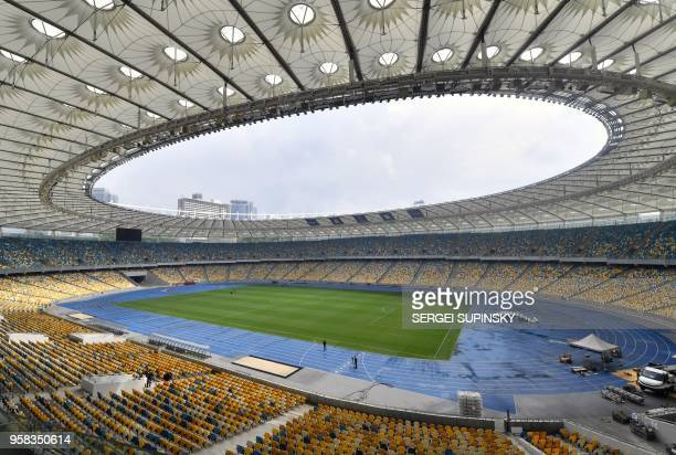 This general view taken on May 14 shows the interior of The NSC Olimpiyskiy Stadium in Kiev ahead of the 2018 UEFA Champions League Final football...