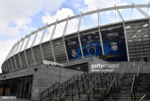This general view taken on May 14 shows The NSC Olimpiyskiy Stadium in Kiev ahead of the 2018 UEFA Champions League Final football match between...