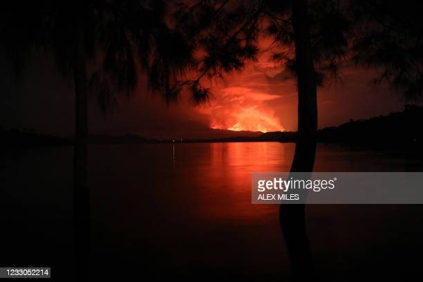 This general view taken on May 22, 2021 from Tchegera Island outsoide Goma on the lake Kivu in the East of the Democratic Republic of Congo shows...