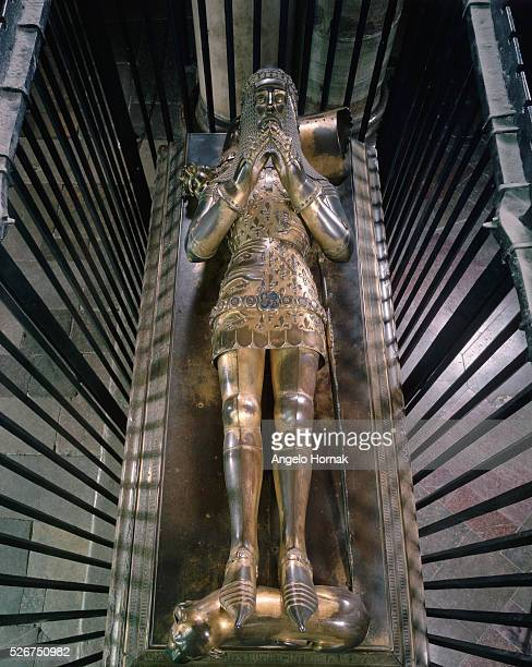 This gilt bronze effigy of the Black Prince Edward dated to 1376 is found in Trinity Chapel Canterbury Cathedral | Located in Trinity Chapel