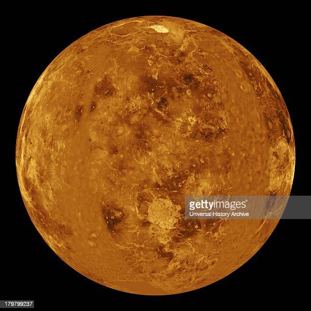 This global view of the surface of Venus is centered at 0 degrees east longitude Magellan