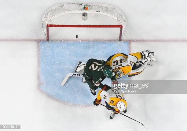 This goal by Minnesota Wild Center Eric Staal was later reversed as it was ruled he interfered with Nashville Predators Goalie Pekka Rinne on the...