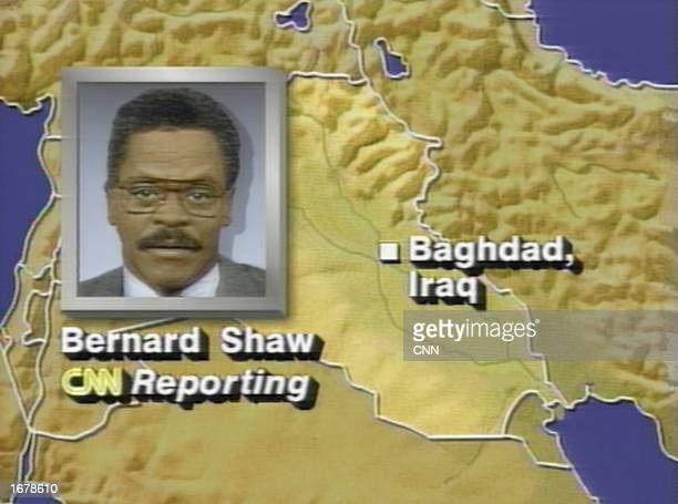 This graphic created by CNN was shown as CNN correspondent Bernard Shaw described the bombing of Baghdad via satellite phone on the first night of...