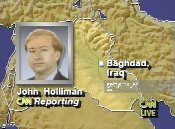 This graphic created by CNN was shown as CNN correspondent John Holliman described the bombing of Baghdad via satellite phone on the first night of...