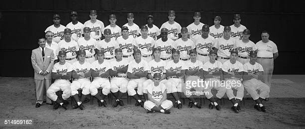 This group photo of Brooklyn's most esteemed set of citizens was taken September 10th at Ebbets Field just before the game with the Milwaukee Braves...
