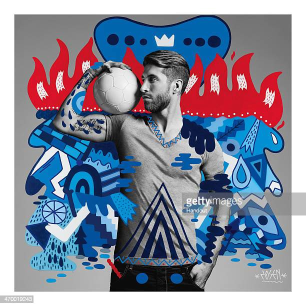This handout composite photo provided by Pepsi on February 18 shows an artwork of Sergio Ramos created by Spanish artist Zosen who was one of the six...