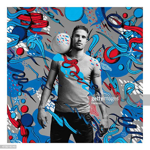 This handout composite photo provided by Pepsi on February 18 shows an artwork of Robin van Persie created by Dutch artist Merijn Hos who was one of...