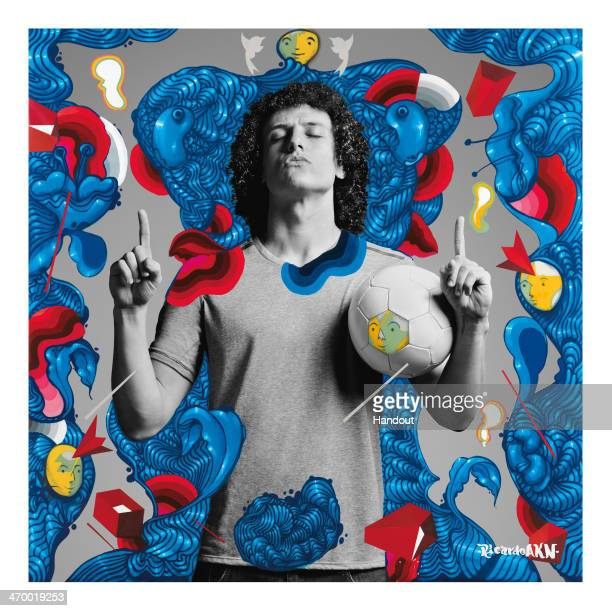 This handout composite photo provided by Pepsi on February 18 shows an artwork of David Luiz created by Brazilian artist Ricardo AKN who was one of...