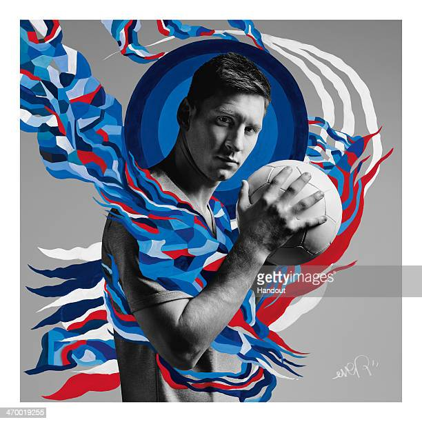 This handout composite photo provided by Pepsi on February 18 shows an artwork of Leo Messi created by Argentinean artist Ever who was one of the six...