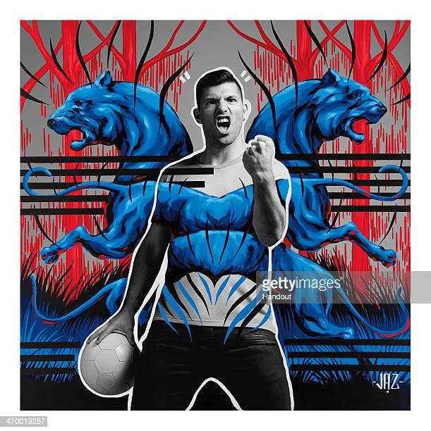 This handout composite photo provided by Pepsi on February 18 shows an artwork of Sergio Aguero created by Argentinean artist Jaz who was one of the...