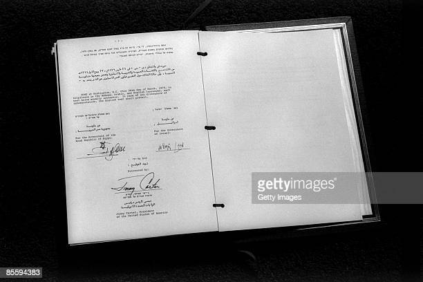 This handout file photo provided by the Israeli Government Press Office on March 25 shows the final page of the IsraeliEgyptian peace treaty after it...