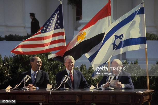 This handout file photo provided by the Israeli Government Press Office on March 25 shows Israeli Prime Minister Menahem Begin addressing the peace...