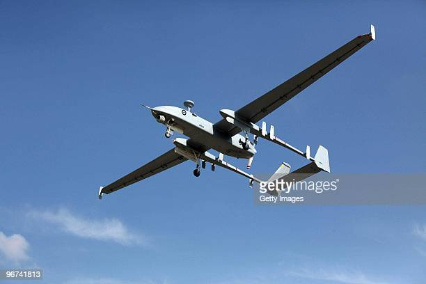 This handout file photo provided on February 16 by the Israel Aerospace Industries shows the Heron a Medium Altitude Long Endurance UAV for strategic...