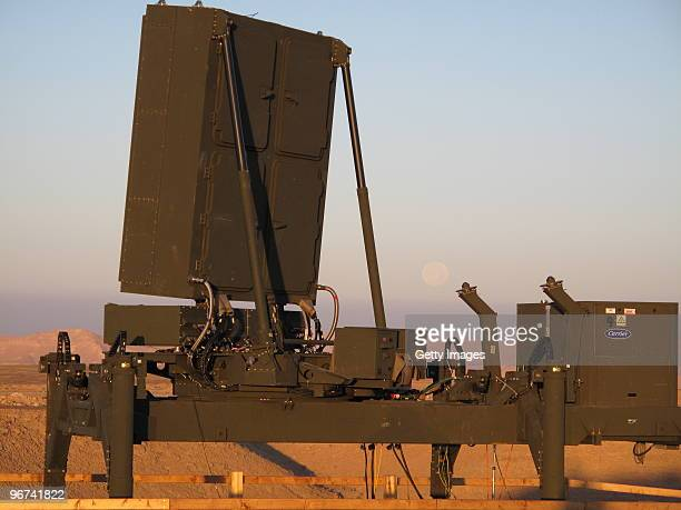 This handout file photo provided on February 16 by the Israel Aerospace Industries shows the Iron Dome radar system, which is designed to detect,...