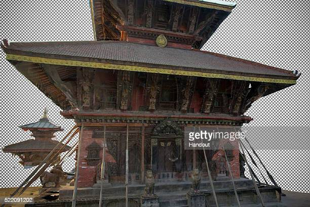 This handout image of a 3D rendering provided by the Digital Archaeology Foundation on April 10, 2016 shows Changu Narayan, a famous temple in the...