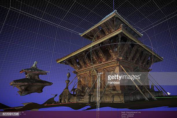This handout image of a 3D rendering provided by the Digital Archaeology Foundation on April 10, 2016 shows Changu Narayan, a temple in the Kathmandu...