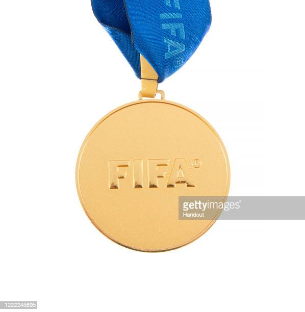 This handout image provided by Julien's Auctions shows a 2009 medal awarded to a player from the champion Brazil national football team, winner of...