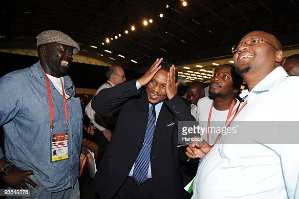 This handout image provided by the 2010 FIFA World Cup Organising Committee South Africa LOC chairman Irvin Khoza speaks to the press during the 2010...