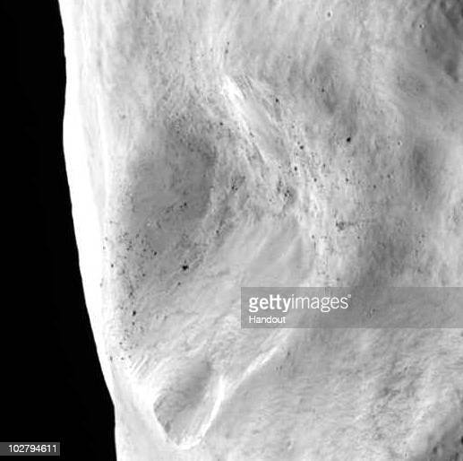 This handout image provided by the European Space Agency transmitted by the space craft Rosetta shows a closeup view of a possible landslide and...