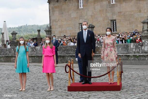 This handout image provided by the Spanish Royal Household shows a family picture of the Spanish royals at the national offering to the apostle...