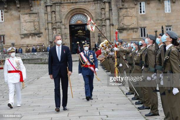 This handout image provided by the Spanish Royal Household shows King Felipe of Spain arriving at the national offering to the apostle Santiago on...