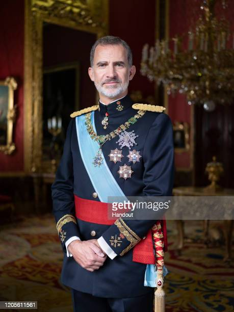 This handout image provided by the Spanish Royal Household shows Official photograph of His Majesty King Don Felipe VI in a uniform with the label of...