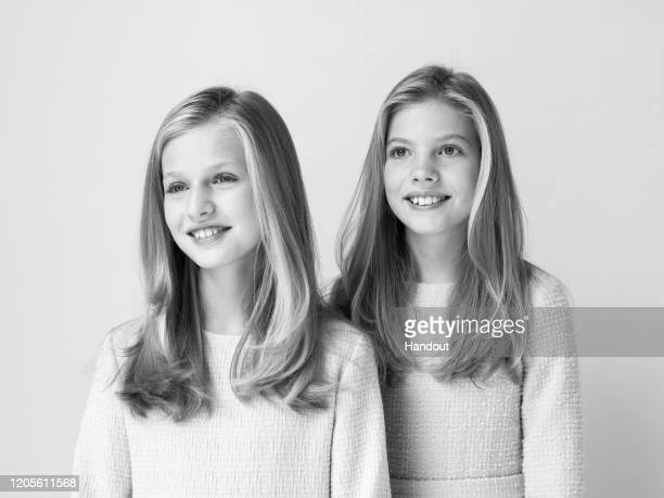 This handout image provided by the Spanish Royal Household shows Official photograph of Her Royal Highnesses the Princess of Asturias and the Infanta...