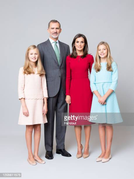 This handout image provided by the Spanish Royal Household shows Photograph of Spanish Royals and Her Royal Highnesses the Princess of Asturias and...