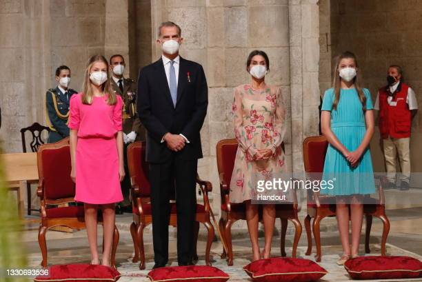 This handout image provided by the Spanish Royal Household shows Princess Leonor, King Felipe of Spain, Queen Letizia of Spain and Princess Sofia at...