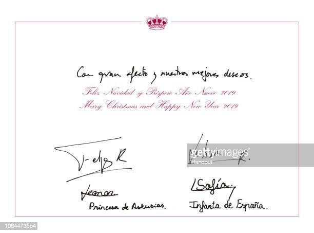 This handout image provided by the Spanish Royal Household shows the inside of the Royal Christmas Card featuring a photograph of featuring King...