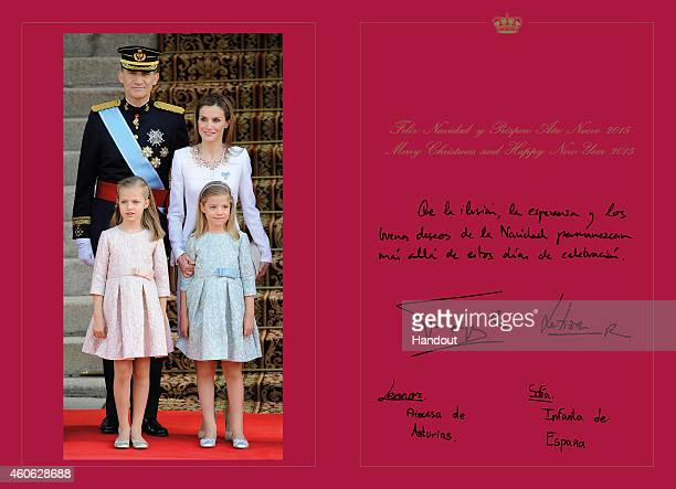 This handout image provided by the Spanish Royal Household shows the inside of the Royal Christmas Card featuring a photograph of King Felipe VI of...
