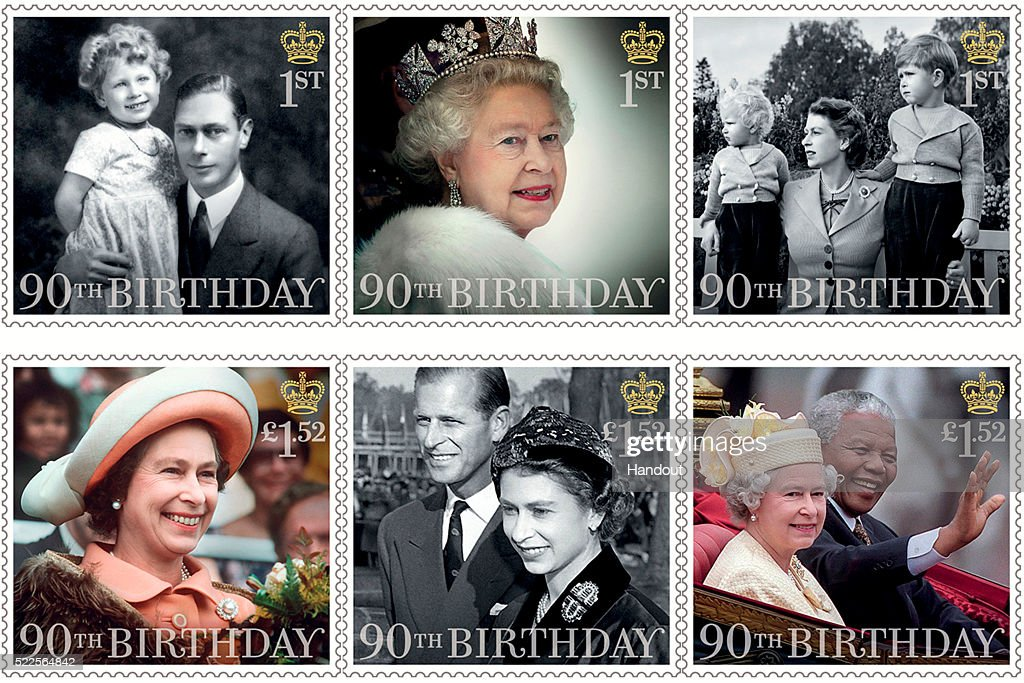 This Handout image released by the Royal Mail on April 20, 2016, shows six stamps issued to mark the 90th birthday of Queen Elizabeth II including images of Queen Elizabeth