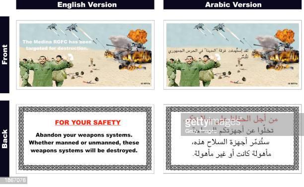 This handout image, showing one of eleven types of informational leaflets dropped by U.S. And British aircraft over Iraq, was released by the U.S....